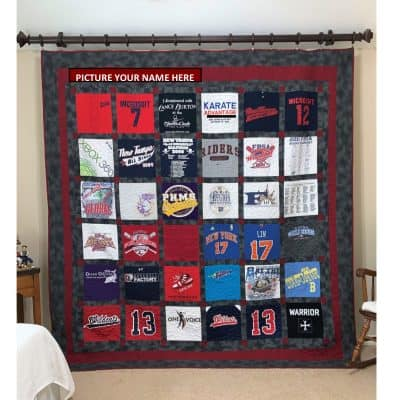 SewISaid-Custom-Memory-TShirt-Quilt-With-Shashing-Hanging-On-Wall