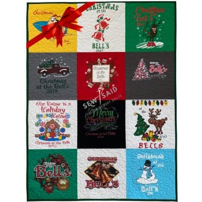Milestone - Christmas Holiday Quilt - Custom Memory T-Shirt Quilts by SewISaid.com