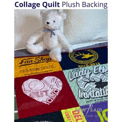 Collage - Quilt Plush Backing - Custom Memory T-Shirt Quilt by SewISaid.com